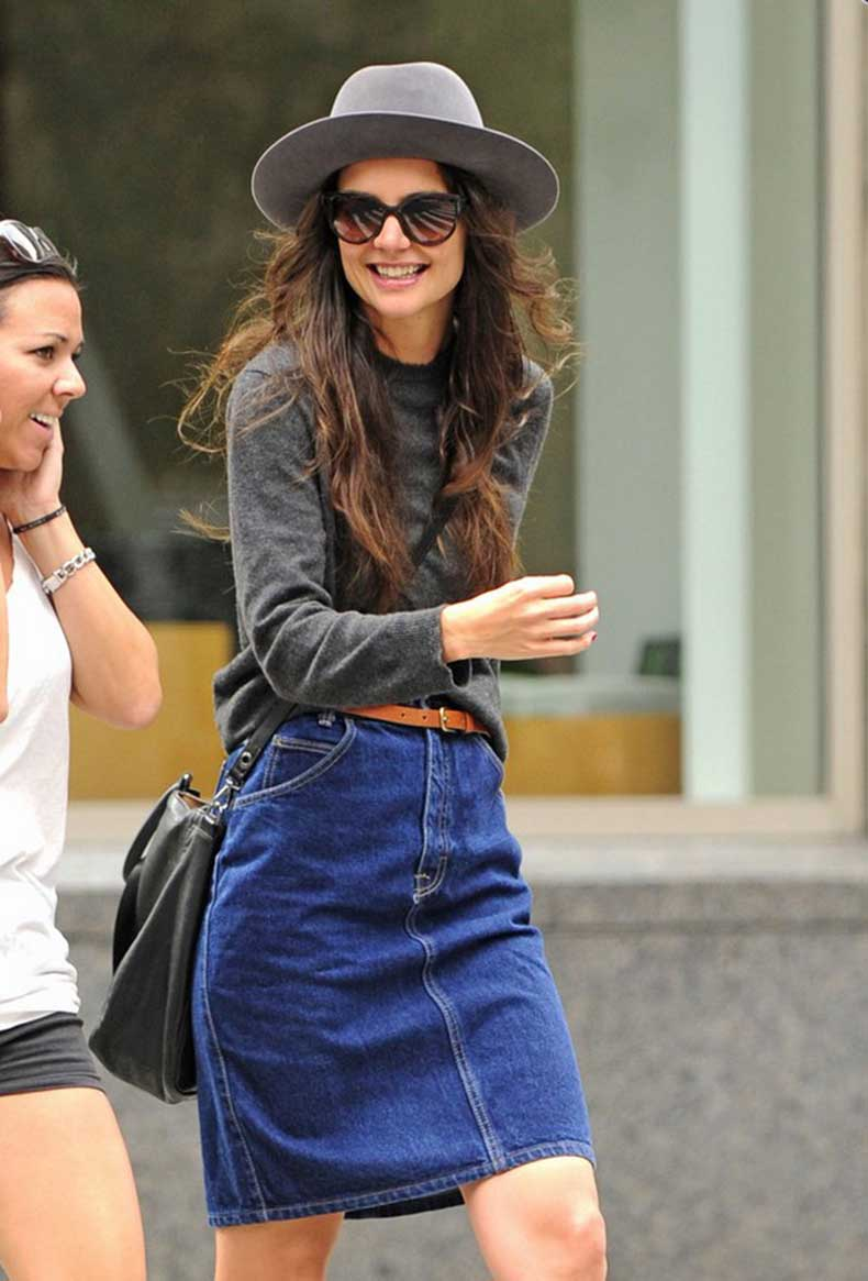 Katie-Holmes-Denim-Pencil-Skirt