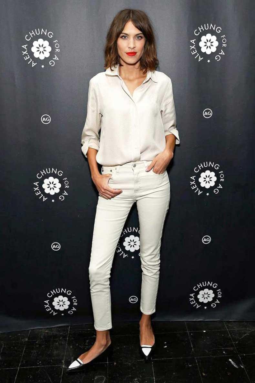Le-Fashion-Blog-Alexa-Chung-Ivory-Off-White-Button-Down-Shirt-Skinny-Brianna-AG-Jeans-Two-Tone-Tabitha-Simmons-Flats