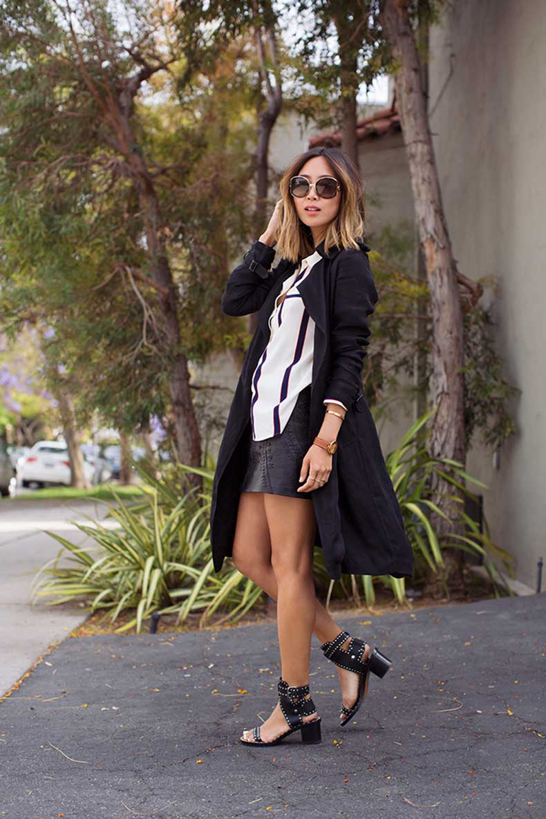 aimee_song_black_trench_striped_shirt_isabel_marant_sandals