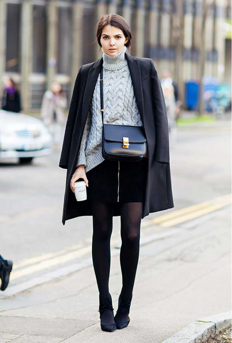 black-mini-skirt-black-coat-tights-grey-turtleneck-sweater-maryjane-ankle-stra-heels-via-stockholm-street-style