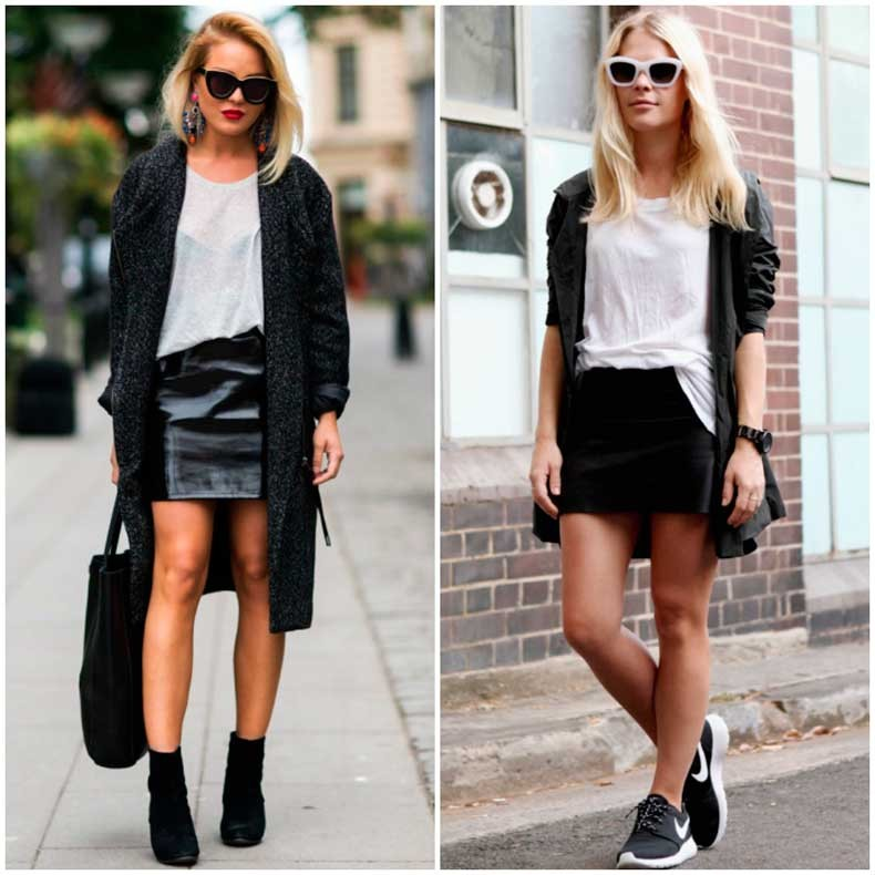 fall-2014-trends---black-leather-mini-skirt-outfit-street-style-look-fashion---with-layers-long-knit-cardigan-sneakers-outfit