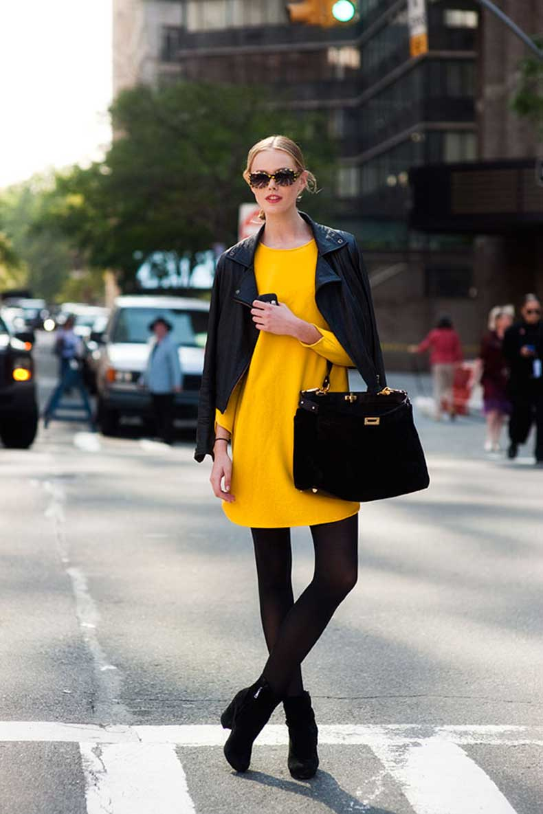neon-colors-fashion-trend-inspiration-street-style-model-off-duty-yellow-dress-and-black