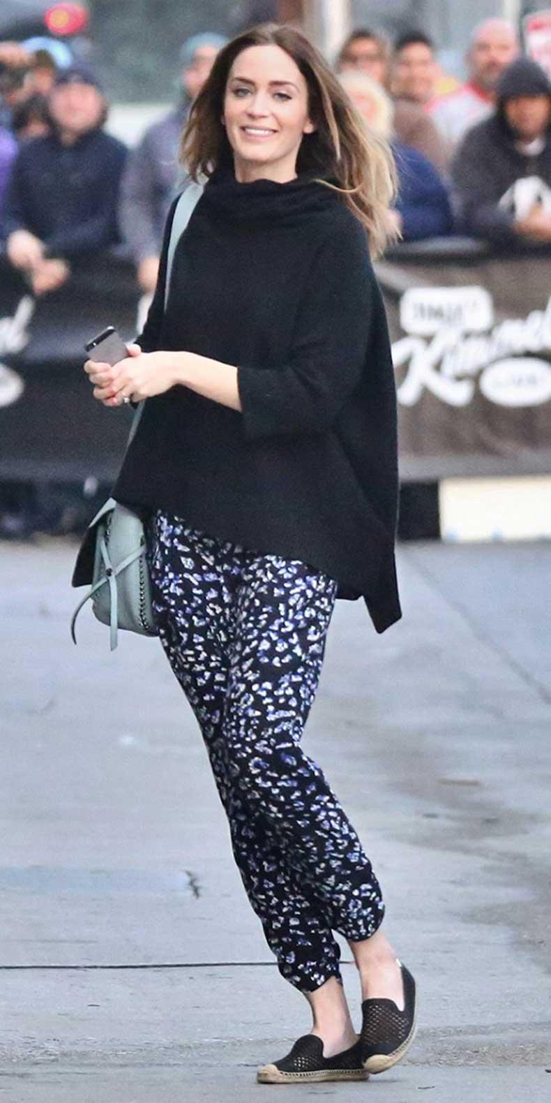 printed-pants-black-poncho-sweater-turtleneck-sweater-oversized-sweater-casual-weekend-emily-blunt-via-splash-via-whowhatwear