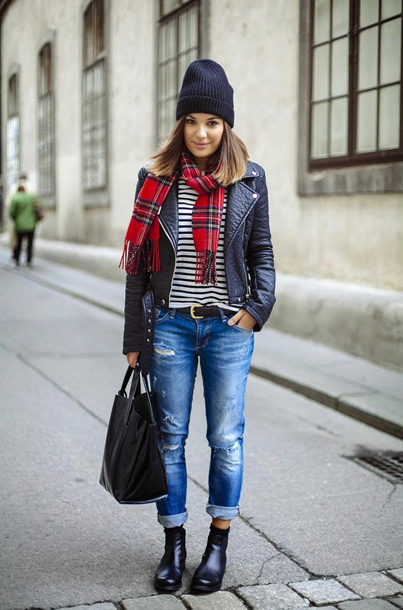 ♥-Outfit.-Destroyed-blue-Jeans,-black-Chelsea-Boots,-Leather-Jacket,-Striped-Shirt-and-red-Tartan-Scarf