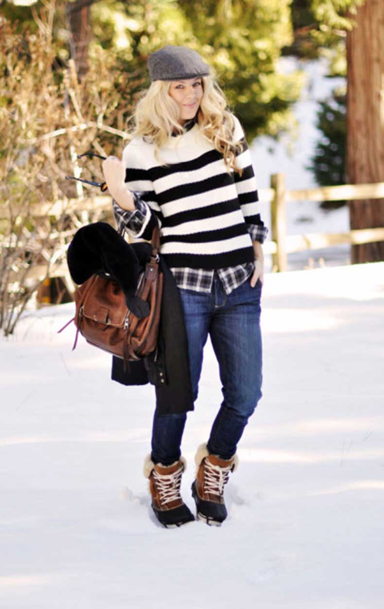 1-winter-style-newsboy-cap-stripes-plaid-jeans-brown-and-black-duck-boots-cute-crocs-snow-boots