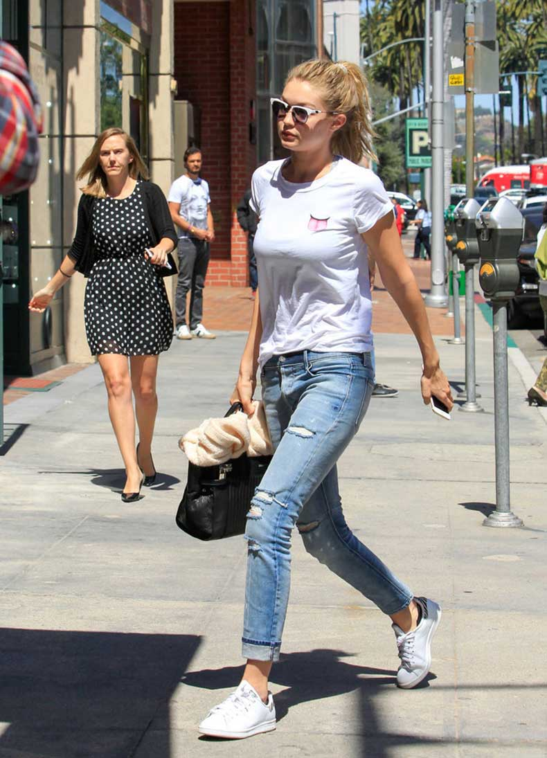 Even-white-tee-jeans-Stan-Smiths-Gigi-turned-heads