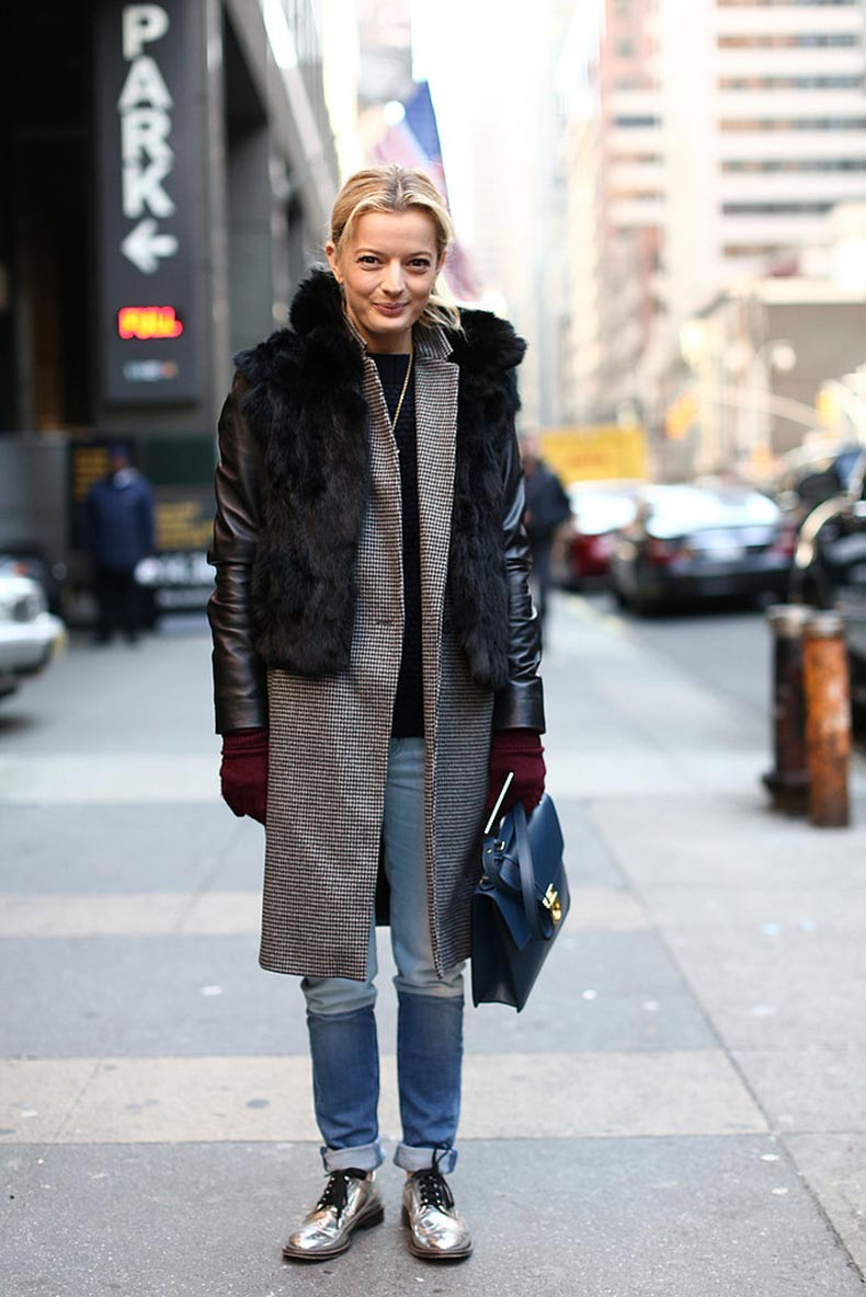 Fur-countered-smart-coat-metallic-oxfords