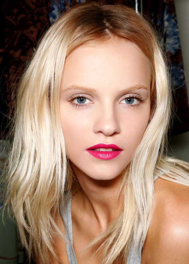 Ginta-Lapina-backstage-beauty-look-by-Makeup-artist-Peter-Philips-created-this-pretty-in-pink-look-to-contrast-the-'90s-grunge-inspired-plaids-and-florals-of-Dries-Van-Noten's-S-S-'13-collection