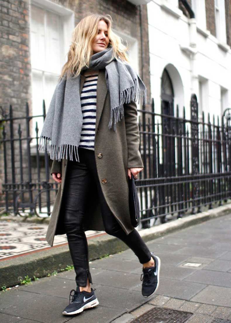 Le-Fashion-Blog-7-Ways-To-Wear-Stripes-In-Winter-Grey-Scarf-Striped-Knit-Coat-Leather-Pants-Nike-Sneakers-Lucy-Williams-Fashion-Me-Now