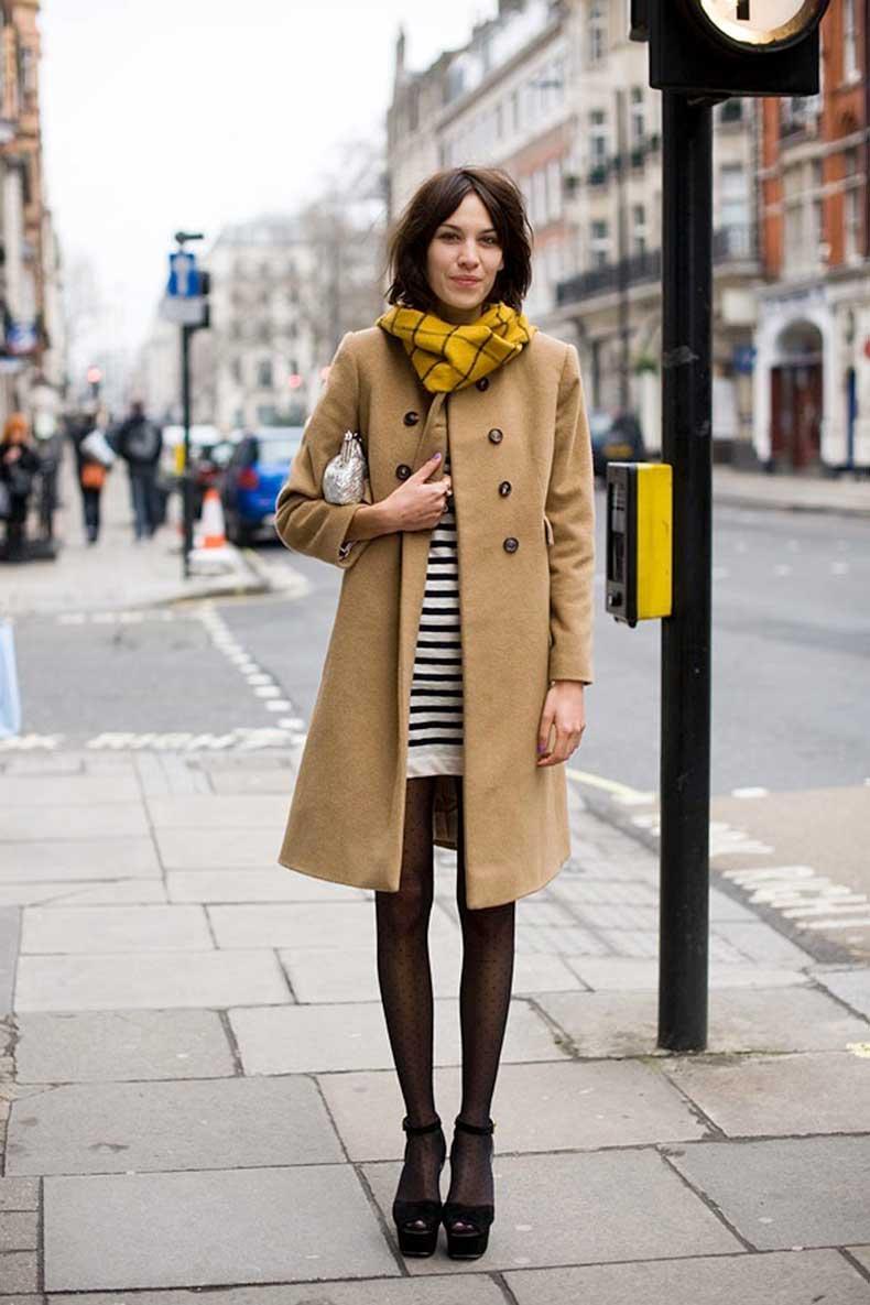 Le-Fashion-Blog-7-Ways-To-Wear-Stripes-In-Winter-Yellow-Grid-Scarf-Camel-Coat-Striped-Dress-Platform-Sandals-Alex-Chung-By-Vanessa-Jackman
