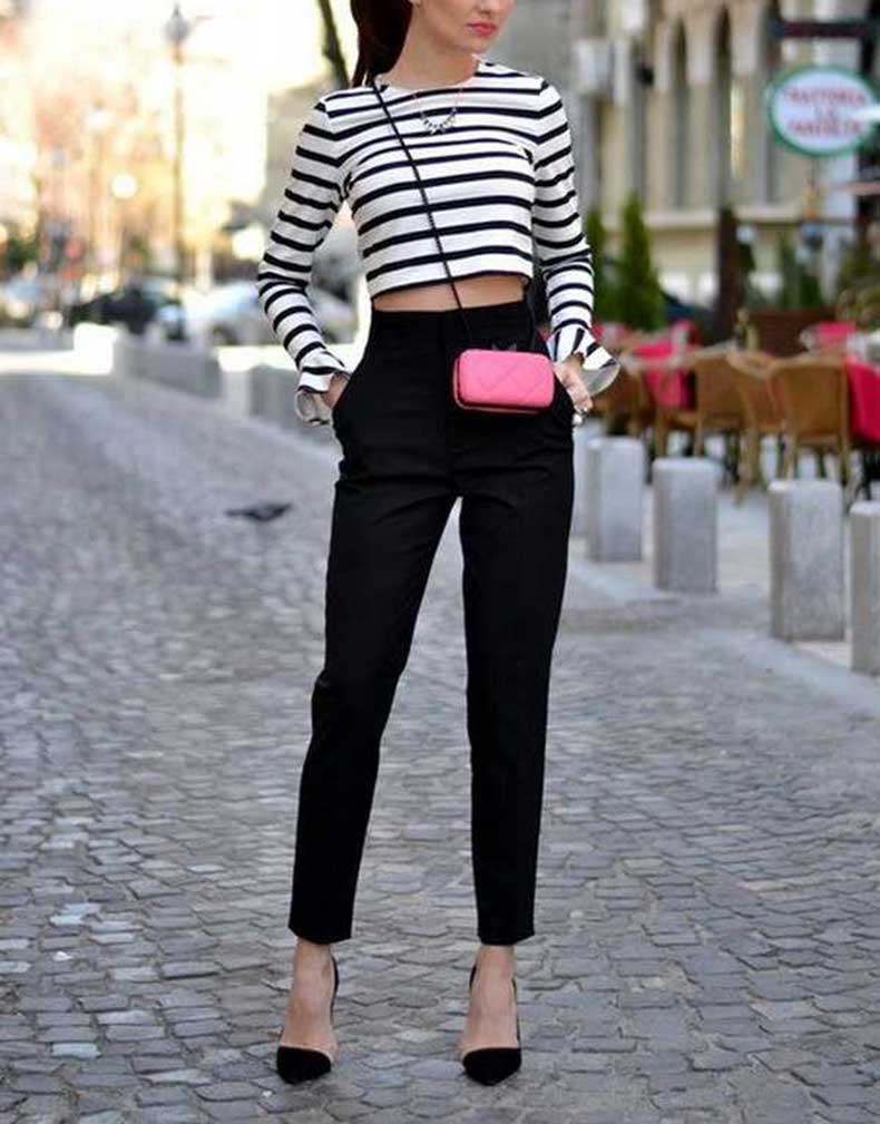 Street-Fashion-Black-Pants-with-Pair-Of-Black-Sandals-on-White-And-Black-Crop-Top-Every-Woman-Should-Have
