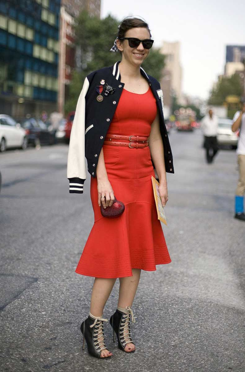 fit-and-flare-dress-and-varsity-jacket