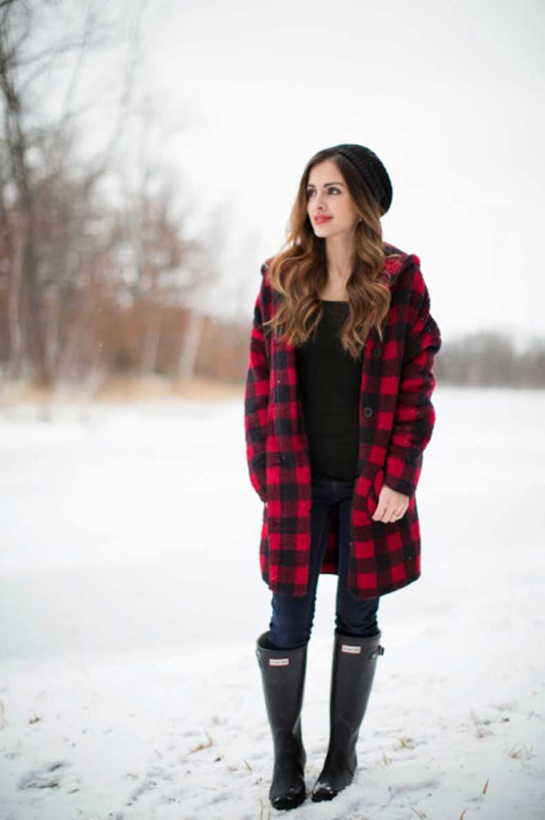 tartan-coat-hunter-boots