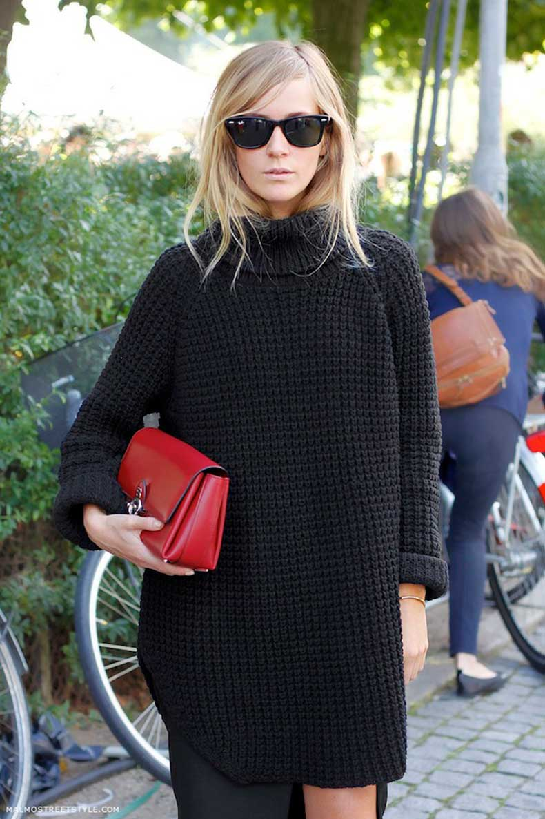Le-Fashion-Blog-Copenhagen-Street-Style-Emma-Elwin-Ray-Ban-Wayfarers-Oversized-Turtleneck-Sweater-Red-Clutch-Via-Malmo-Street-Style