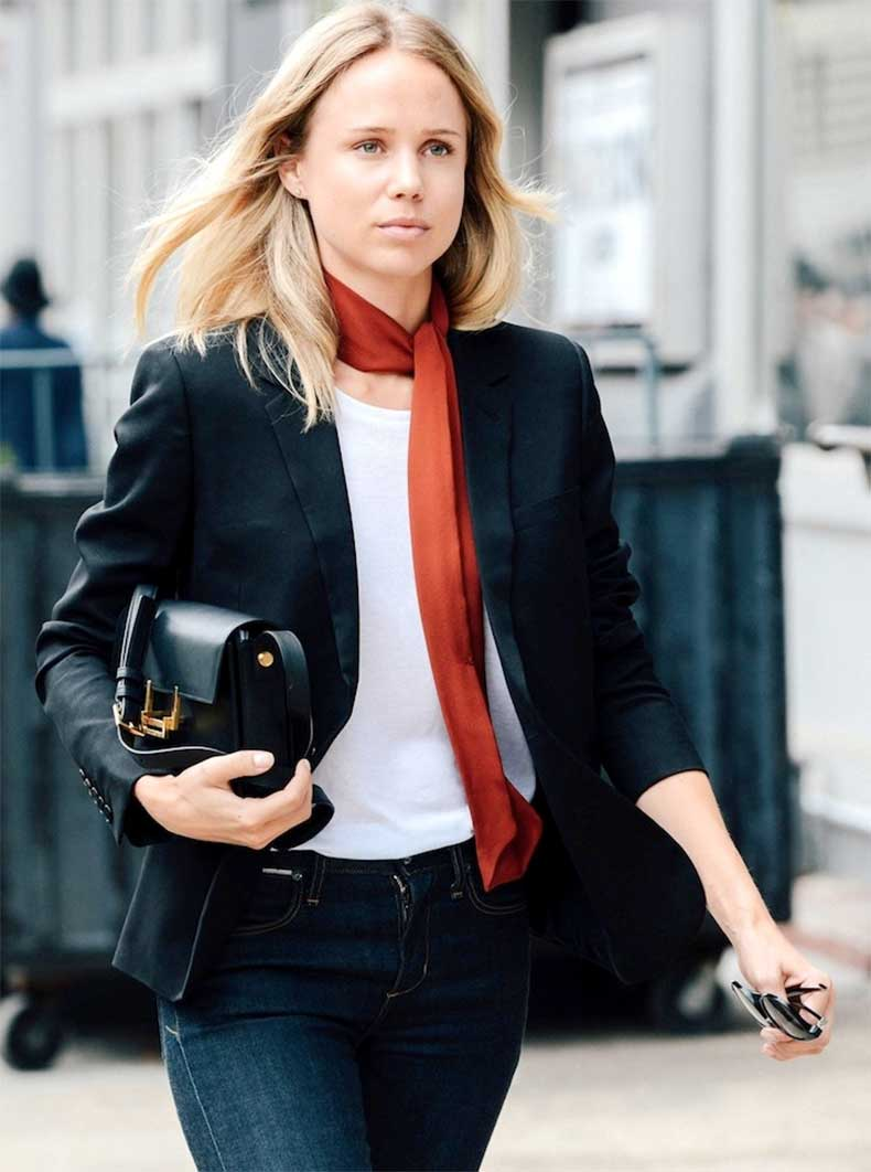 Le-Fashion-Blog-New-York-City-Street-Style-Elin-Kling-Red-Skinny-Silk-Scarf-White-Tee-Blazer-Saint-Laurent-Lulu-Bag-Jeans-1