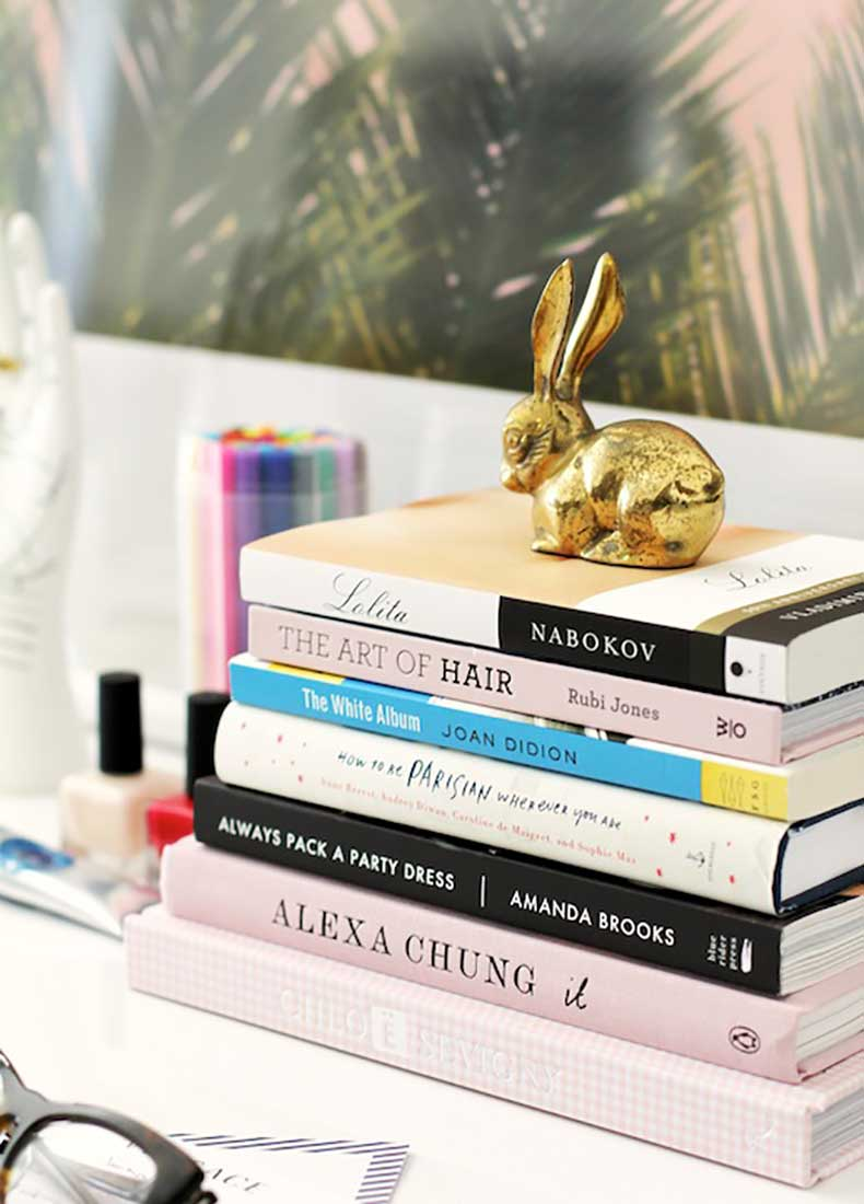 Le-Fashion-Blog-Stylish-Whimsical-Work-Space-Urban-Outfitters-Brass-Bunny-Fashion-Books-Alexa-Chung-Chloe-Sevigny-Joan-Didion-Lolita