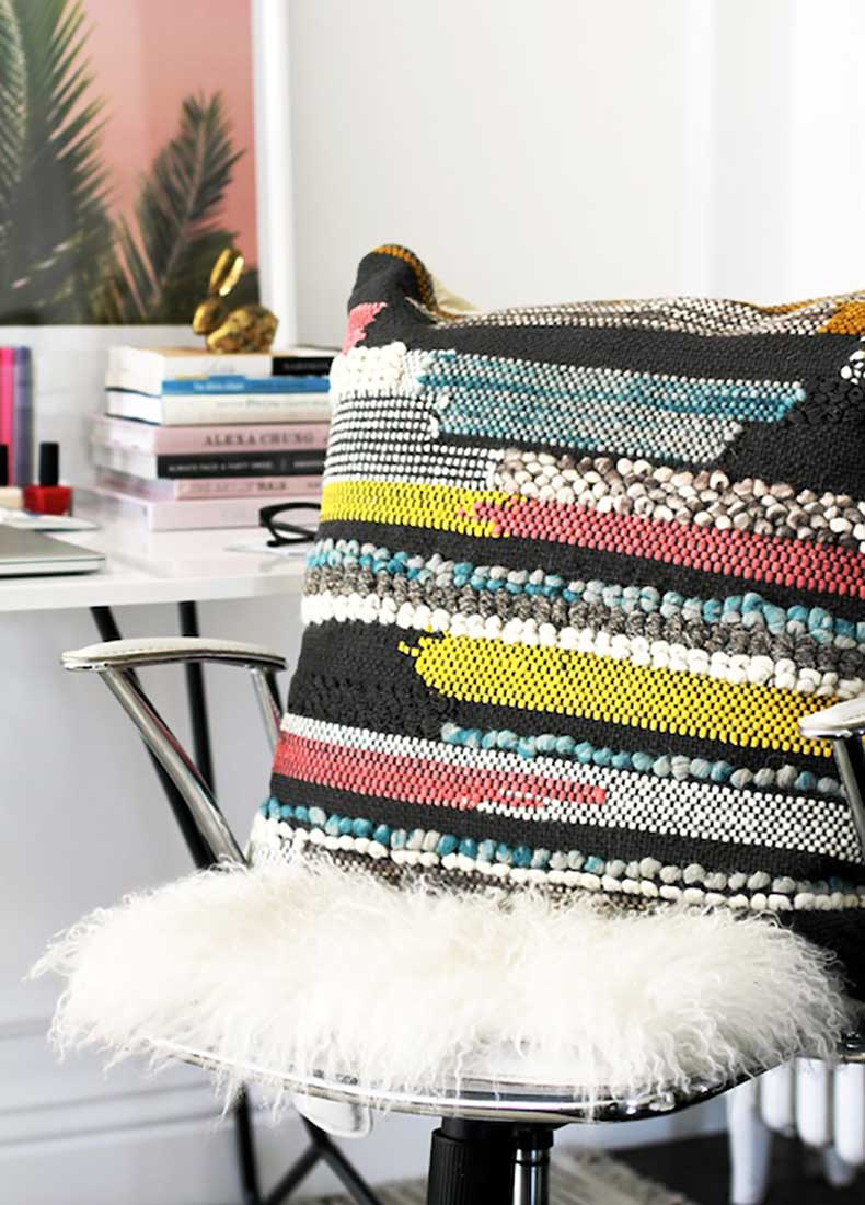 Le-Fashion-Blog-Stylish-Whimsical-Work-Space-Urban-Outfitters-Colorful-Colorblock-Woven-Textured-Pillow-White-Desk-Chair-Mongolian-Fur-Throw