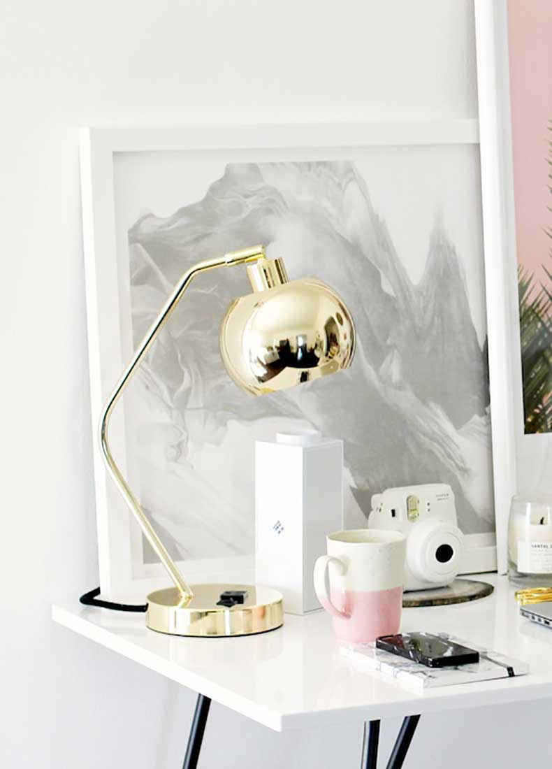 Le-Fashion-Blog-Stylish-Whimsical-Work-Space-Urban-Outfitters-Gold-Lamp-Globe-Metallic-Lighting-Pink-Mug-White-Desk-Office-Decor