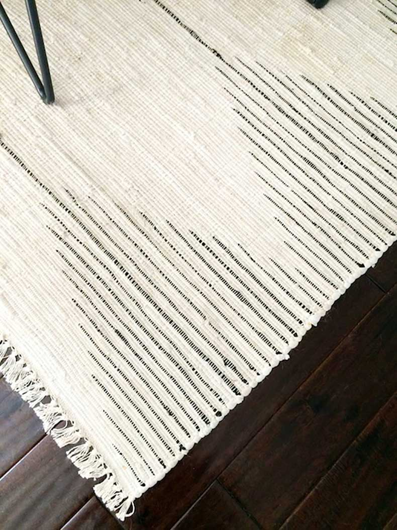 Le-Fashion-Blog-Stylish-Whimsical-Work-Space-Urban-Outfitters-Woven-Striped-Rug-Dark-Wood-Floors-Office-Decor