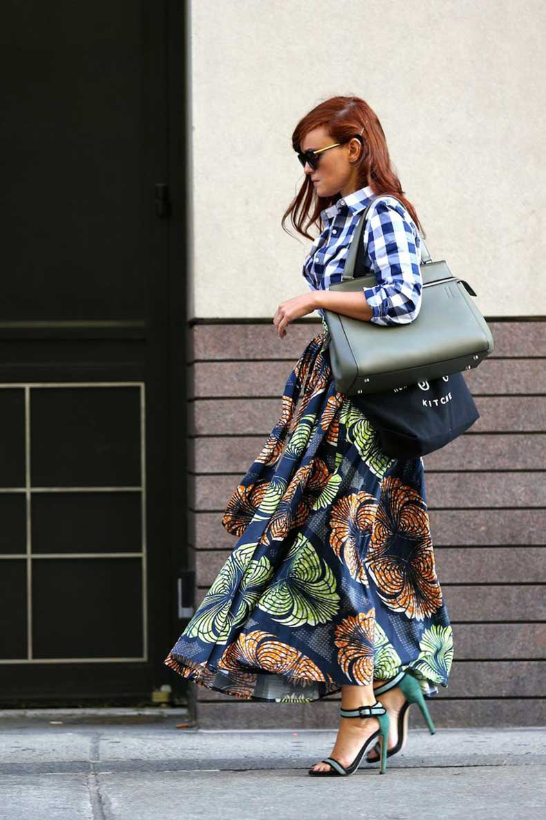 plaid-top-and-printed-skirt