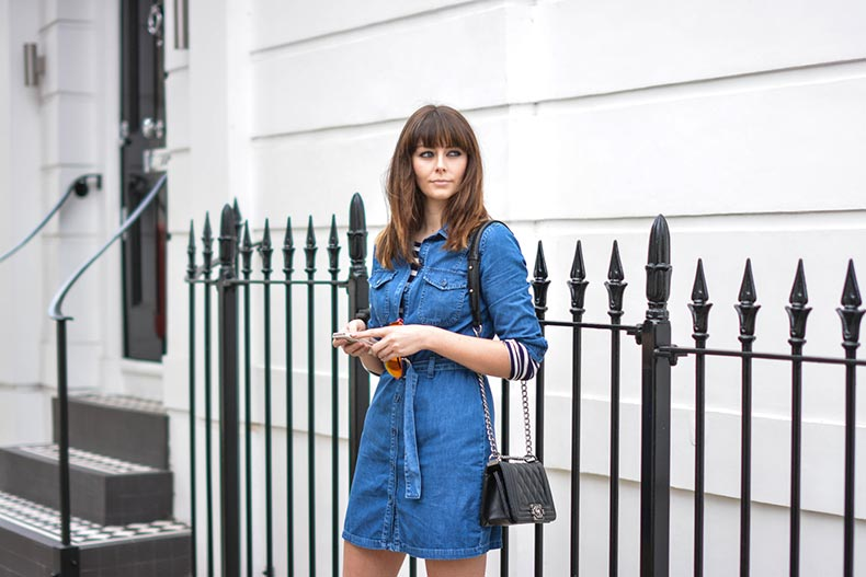 EJSTYLE-Emma-Hill-Black-small-Chanel-Boy-bag-Miss-Selfridge-denim-belted-shirt-dress-Bretton-stripe-t-shirt-Polarised-aviator-sunglasses-mirror-lens-by-Kurt-Geiger-VB-aviators