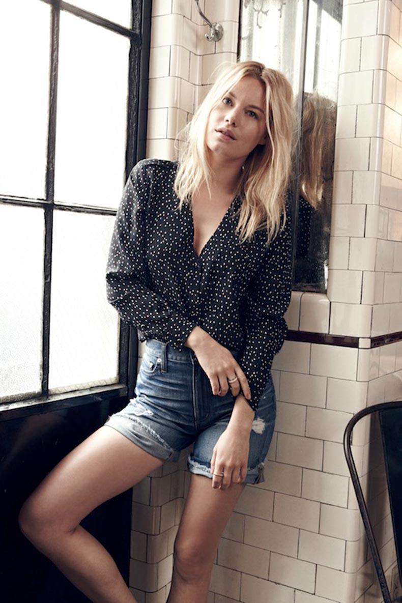 Le-Fashion-Blog-Madewell-Sezane-Lookbook-Camille-Rowe-Spotted-Silk-Printed-Shirt-Top-Distressed-Denim-Shorts