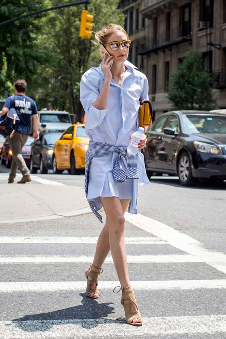 Le-Fashion-Blog-Olivia-Palermo-Street-Style-Mirrored-Sunglasses-Blue-Shirtdress-Gingham-Shirt-Tan-Suede-Aquazzura-Sexy-Thing-Sandals