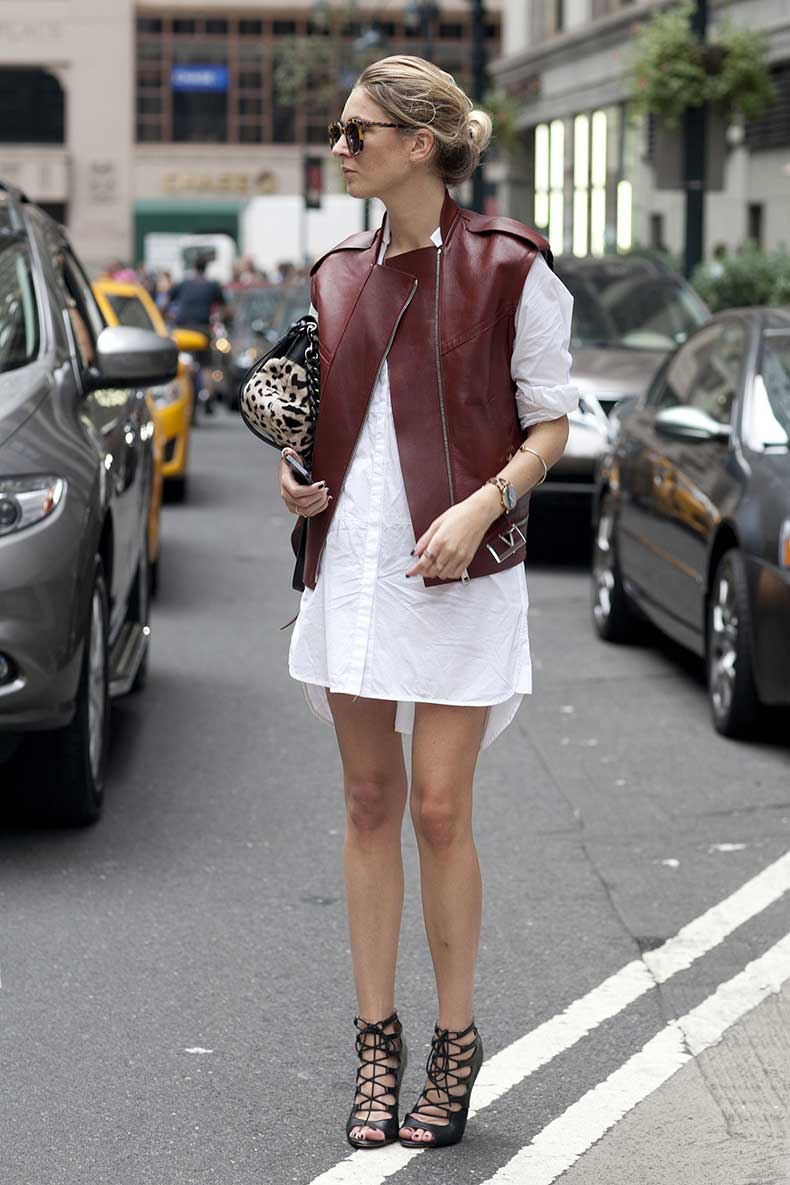 She-toughened-up-white-shirt-dress-burgundy-leather-hot