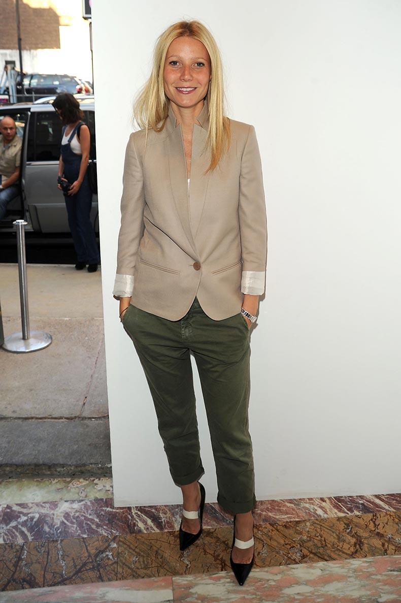 Stella-McCartney-bash-Gwyneth-posed-cool-beige-blazer