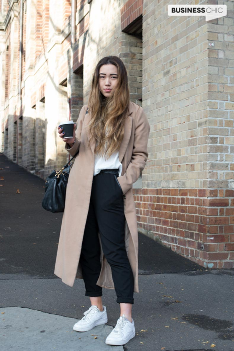 Sydney-street-style-camel-coat-black-work-pants-and-white-leather-sneakers