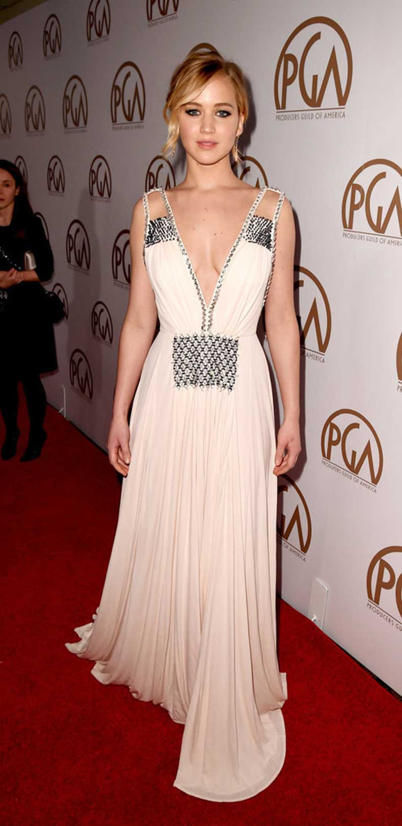 actress-dazzled-plunging-Prada-gown-shimmering