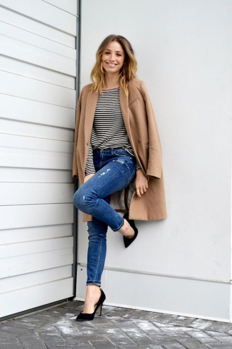 french-style-basics-striped-top-distressed-skinny-jeans-camel-coat-black-pumps-ombre-hair-fashion-blog-the-august-diaries3-682x1024