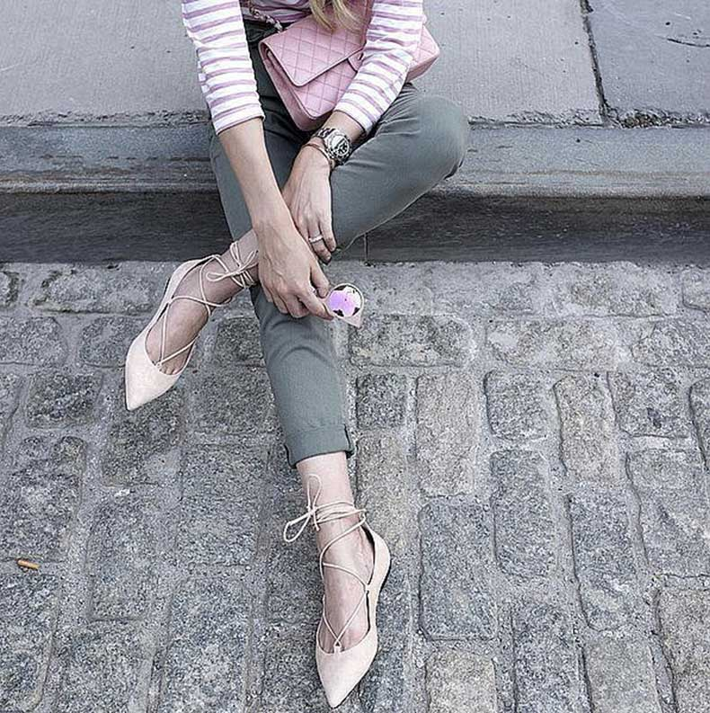 Army-Green-Denim-Striped-Shirt-Lace-Up-Flats