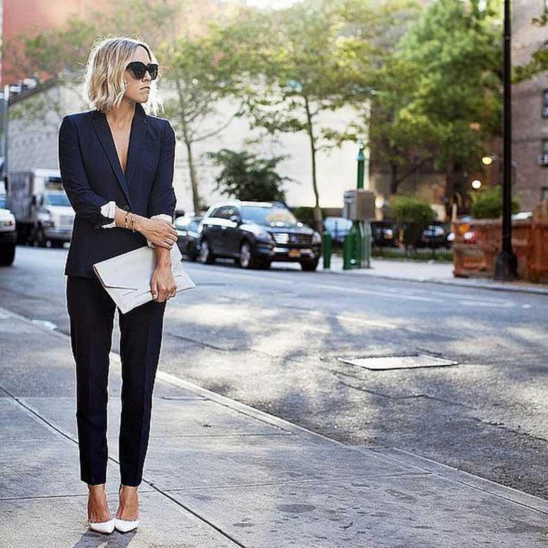 Black-Suit-Set-White-Heels-White-Clutch