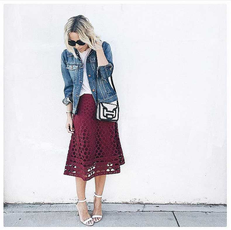 Colorful-Midi-Skirt-White-Top-Jean-Jacket