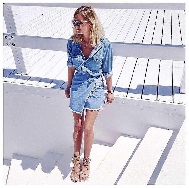 Denim-Skirt-Denim-Button-Down-Lace-Up-Sandals