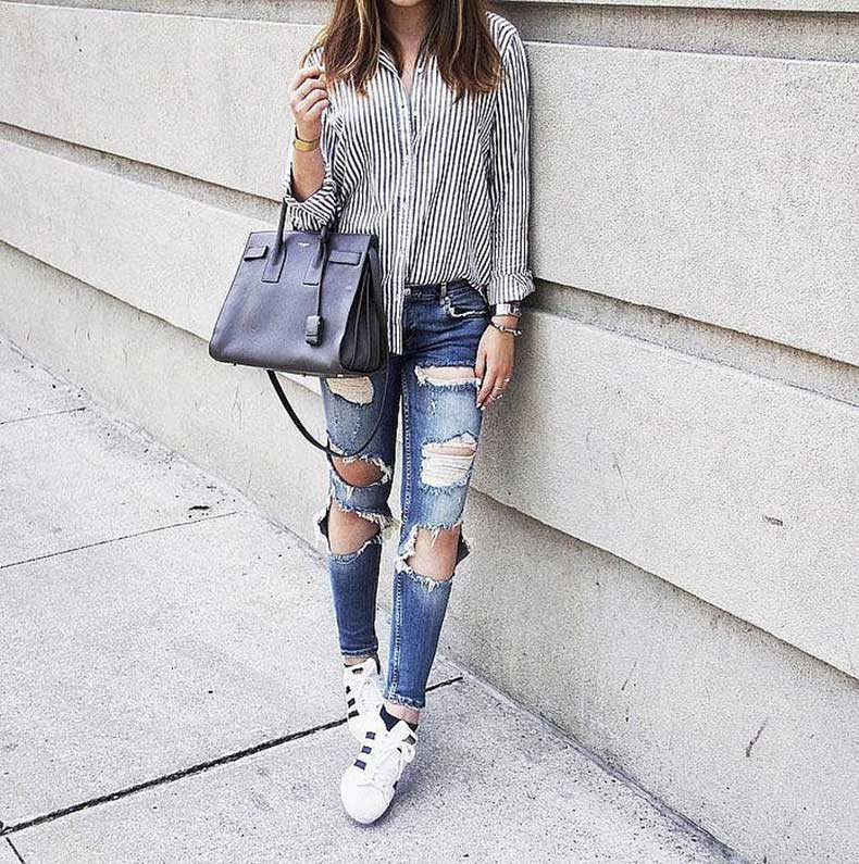 Distressed-Denim-Button-Down-Sneakers