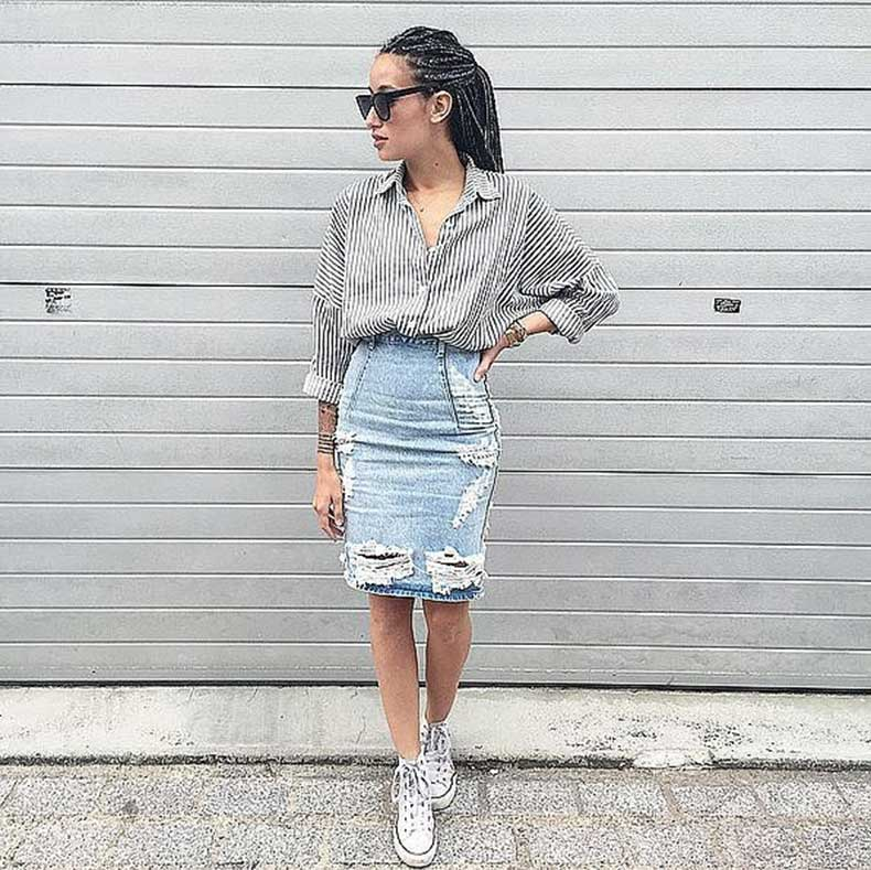 Distressed-Denim-Pencil-Skirt-Striped-Top-Sneakers