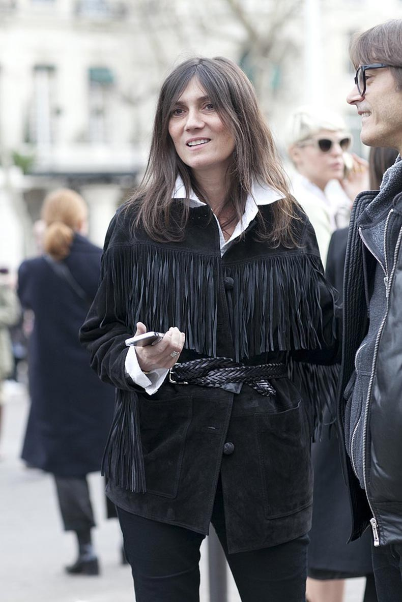 Emmanuelle-Alt-dressed-up-white-button-down-fringed-jacket
