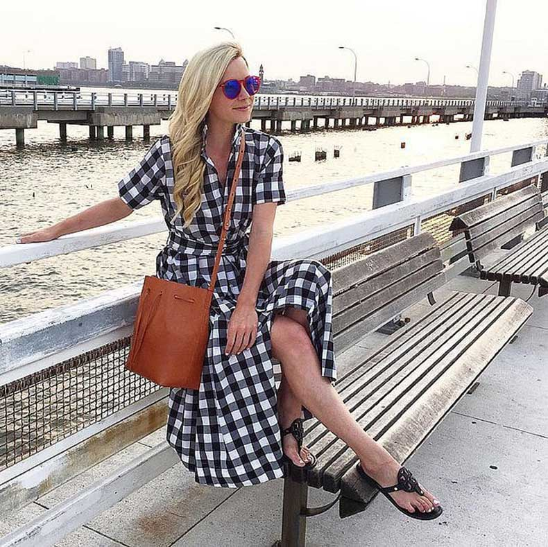 Gingham-Dress-Bucket-Bag-Sandals