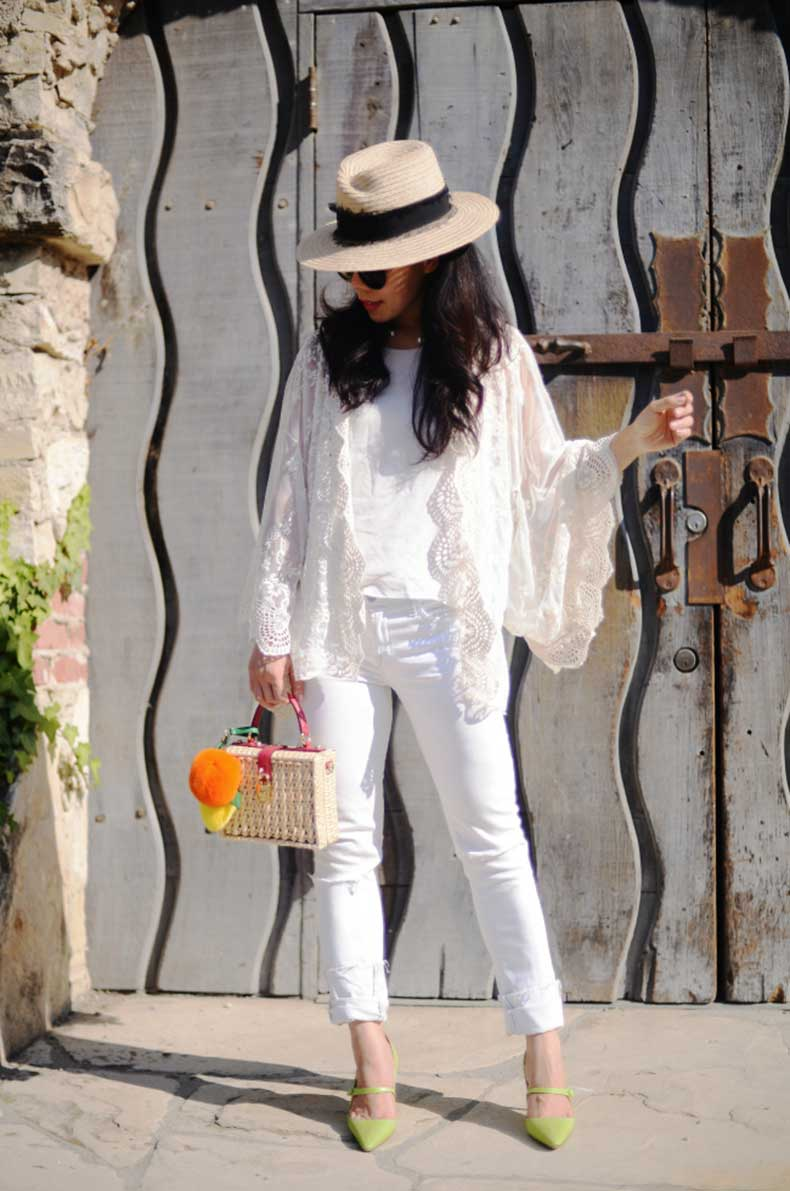 HallieDaily-Lace-Shrug-White-Ripped-Jeans-Dolce-Gabbana-Straw-Bag-Manolo-Blahnikhq-Mary-Jane-Shoes-3
