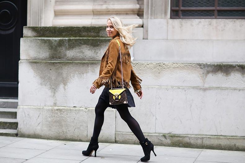 LFW-diana-gavrilina-sweatshirts-and-dresses-suede-fringe-jacket-street-style-1