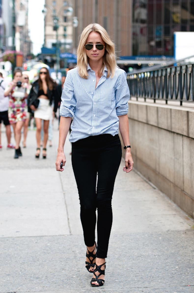 Le-Fashion-Blog-25-Ways-To-Wear-A-Striped-Button-Down-Shirt-Cage-Sandals-Elin-Kling-Via-Silhouetted-Skyline