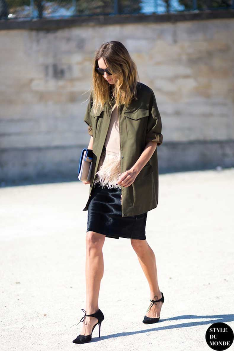 Le-Fashion-Blog-Paris-Street-Style-Candela-Novembre-Green-Army-Jacket-Blush-Feather-Top-Black-Skirt-Jimmy-Choo-Ankle-Tie-Heels-Style-Du-