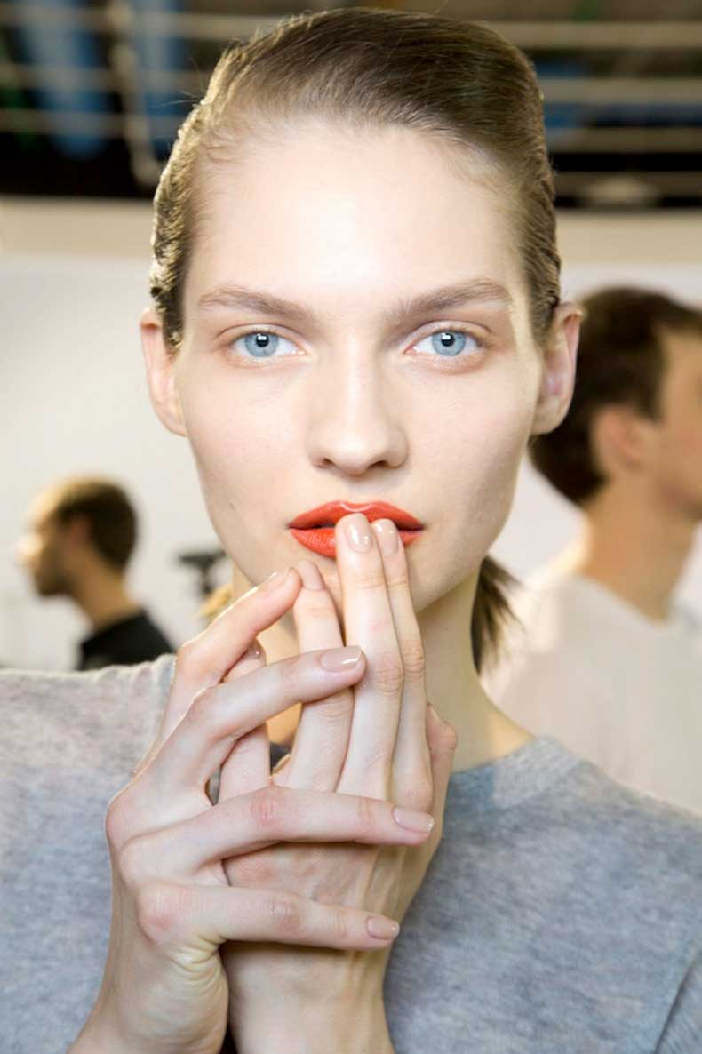Le-Fashion-Blog-Spring-Beauty-Orange-Lips-Nude-Nails-Nail-Polish-Acne-FW-2015-Backstage