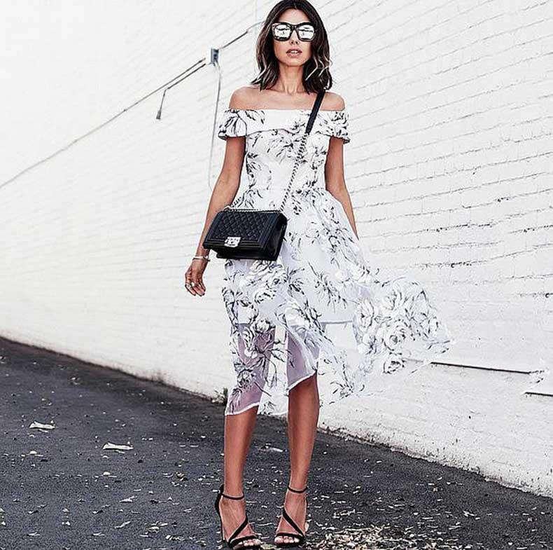 Off--Shoulder-Floral-Dress-Strappy-Sandals