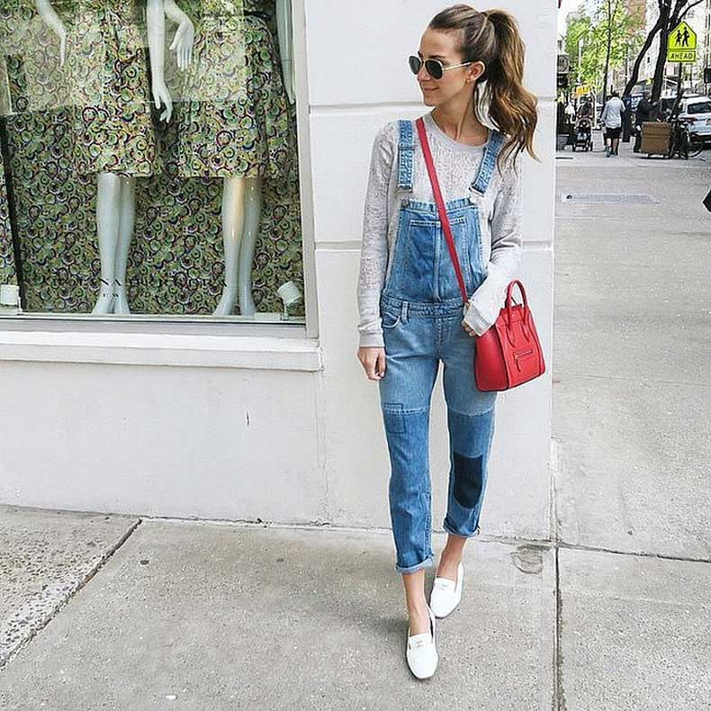 Overalls-Long-Sleeved-Tee-Colorful-Bag-White-Slippers