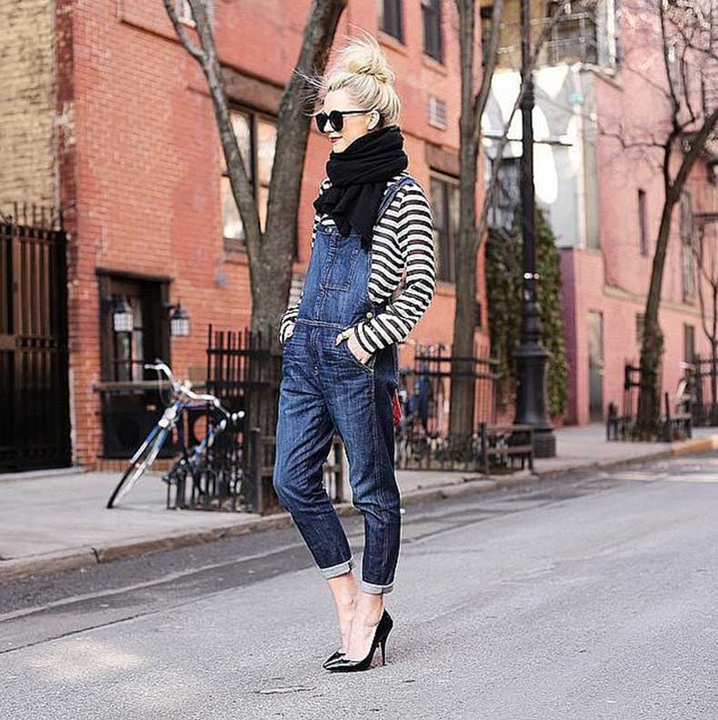 Overalls-Striped-Shirt-Black-Heels-Black-Scarf