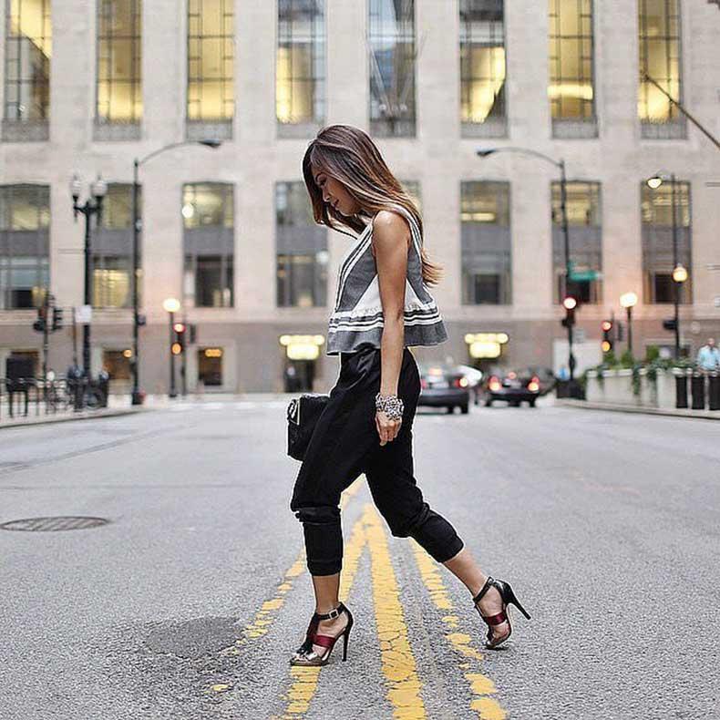 Peplum-Top-Black-Pants-Heeled-Sandals