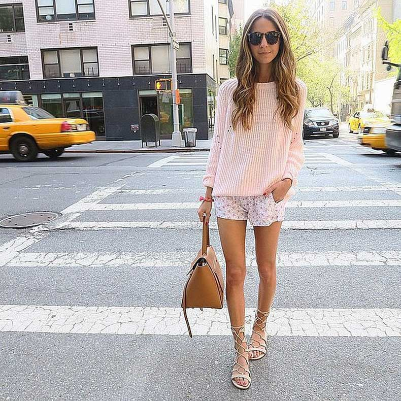 Pink-Sweater-Floral-Shorts-Lace-Up-Sandals
